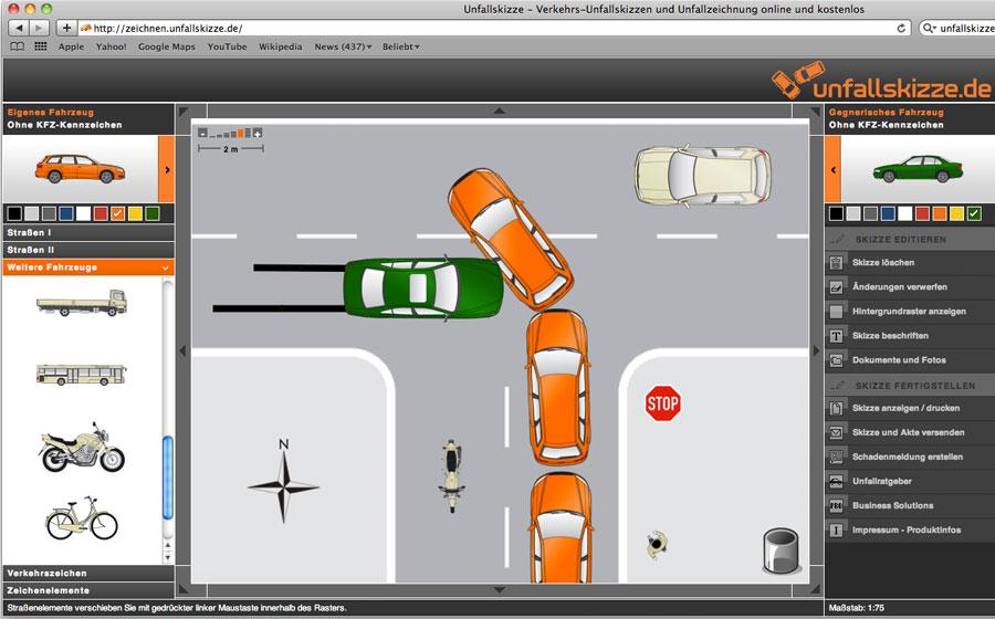 Unfallskizze - Verkehrs-Unfallskizzen und Unfallzeichnung online und ...